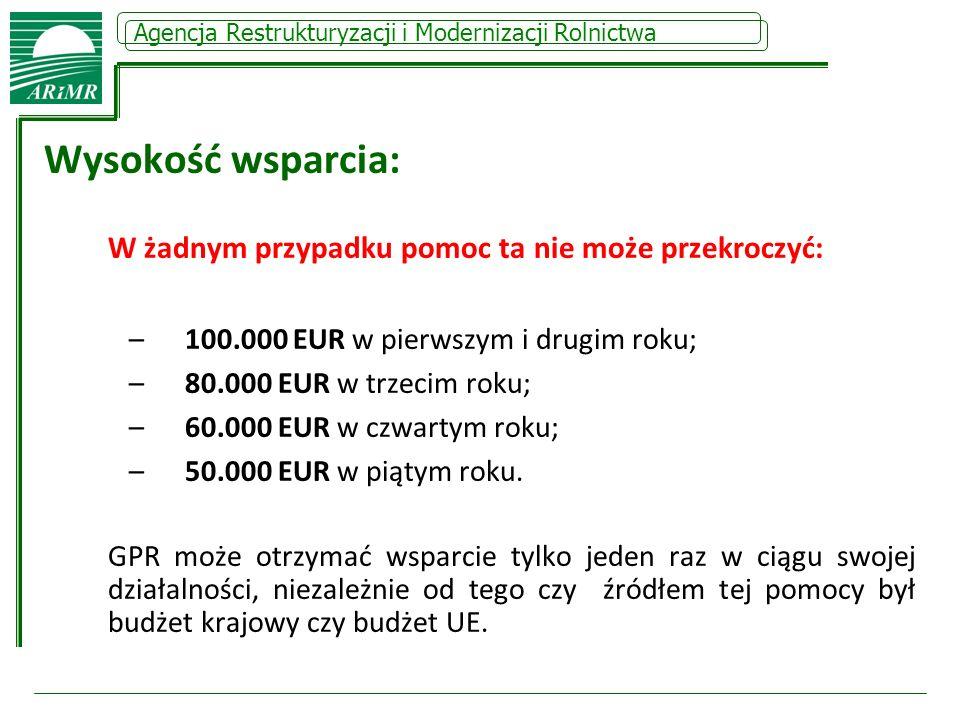 Wysokość wsparcia: 100.000 EUR w pierwszym i drugim roku;