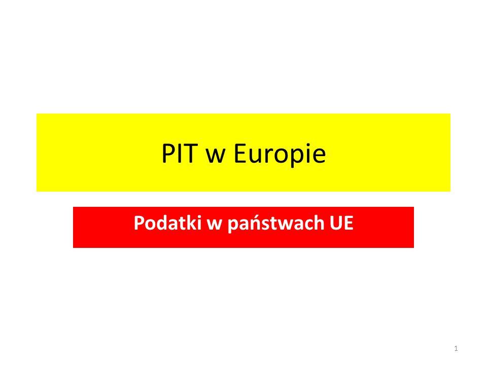 PIT w Europie Podatki w państwach UE