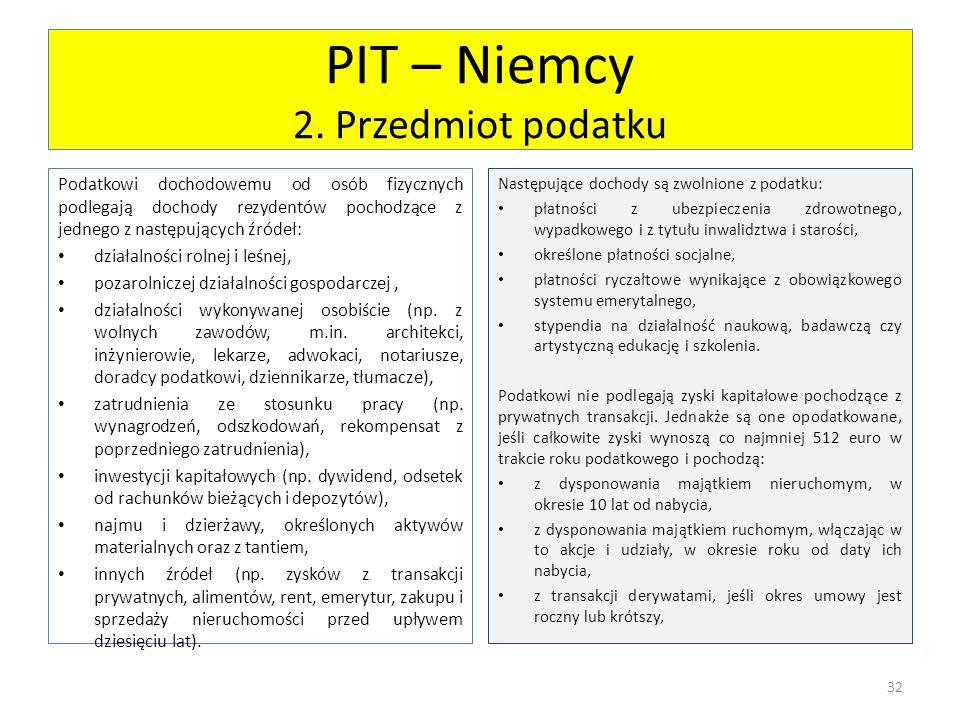 PIT – Niemcy 2. Przedmiot podatku