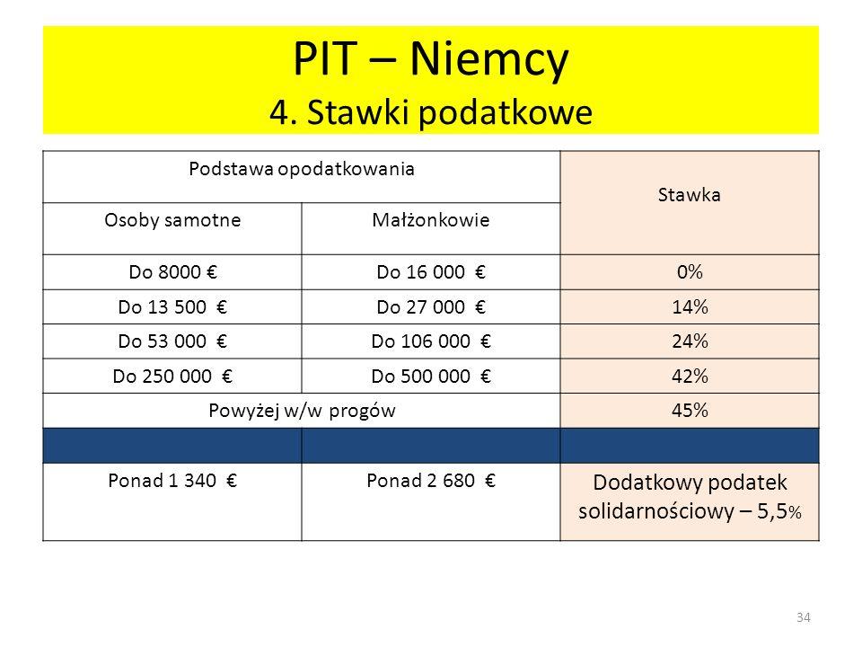 PIT – Niemcy 4. Stawki podatkowe