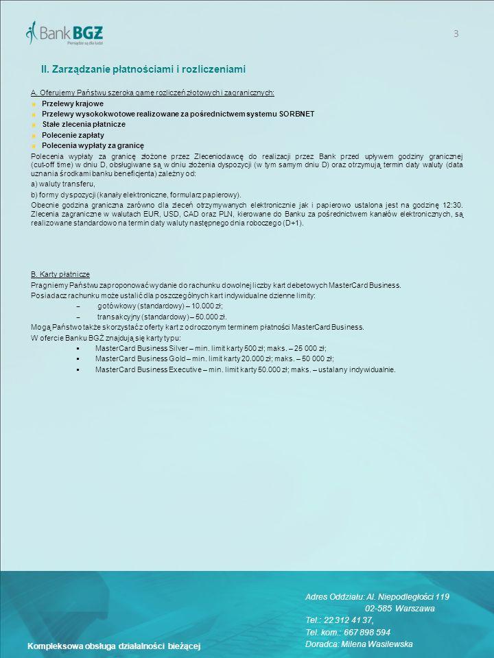 II. Zarządzanie płatnościami i rozliczeniami