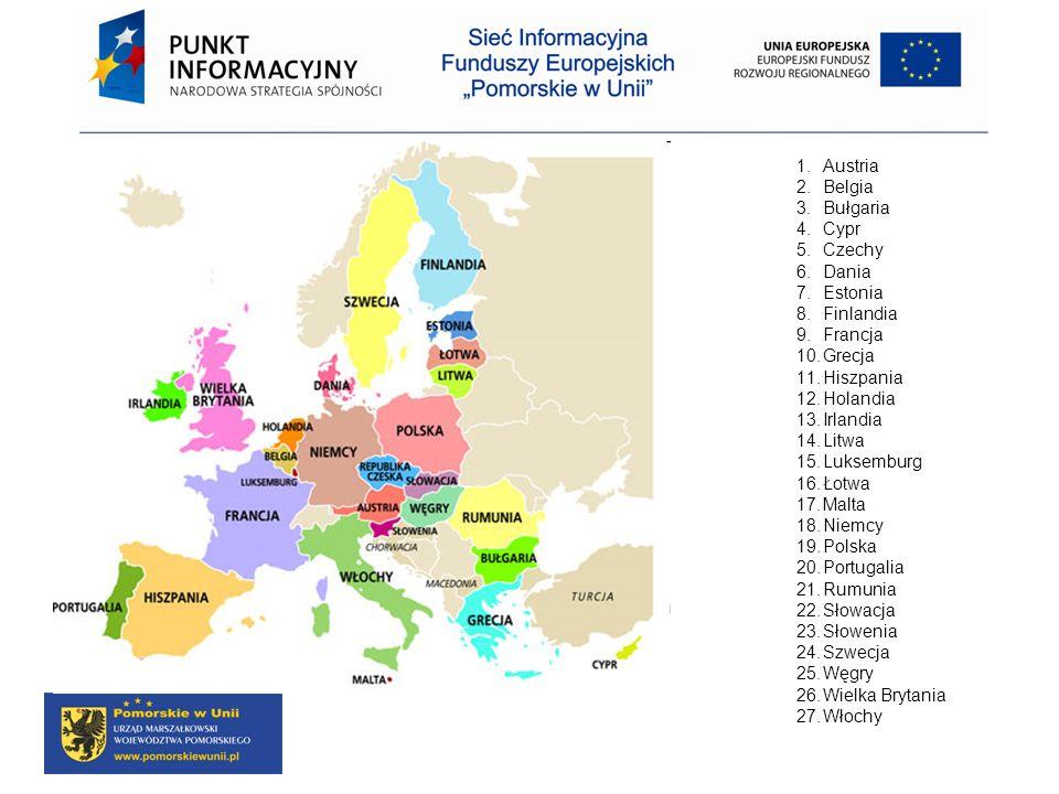 AustriaBelgia. Bułgaria. Cypr. Czechy. Dania. Estonia. Finlandia. Francja. Grecja. Hiszpania. Holandia.