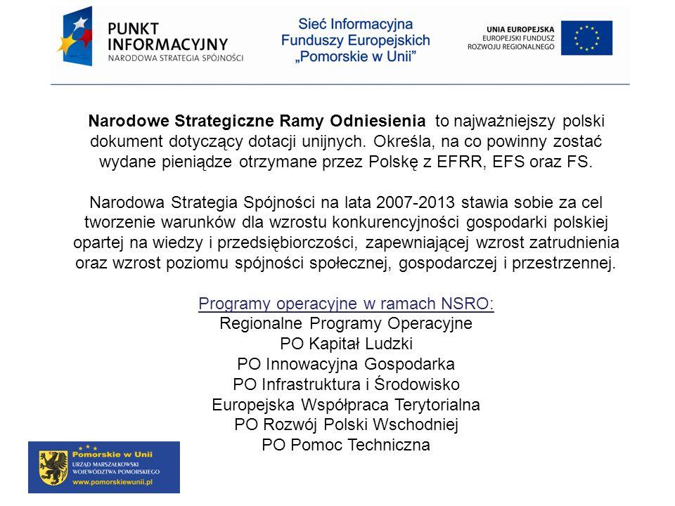 Programy operacyjne w ramach NSRO: Regionalne Programy Operacyjne