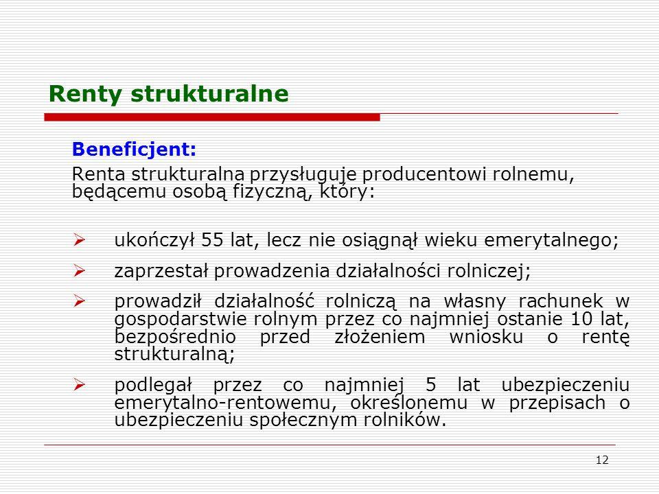 Renty strukturalne Beneficjent: