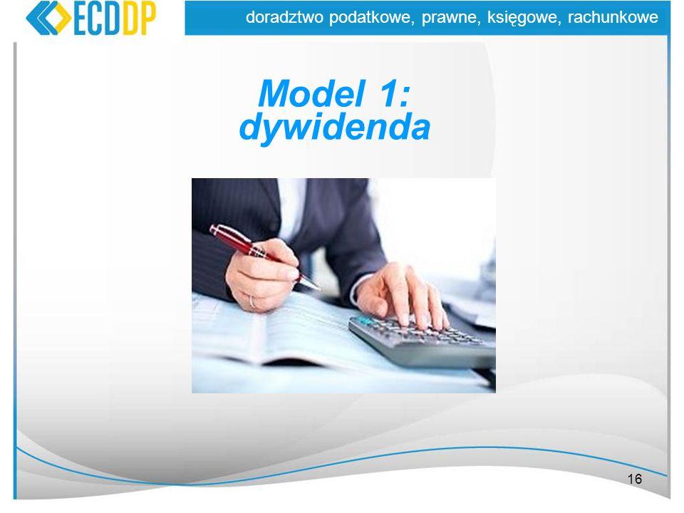 Model 1: dywidenda doradztwo podatkowe, prawne, księgowe, rachunkowe