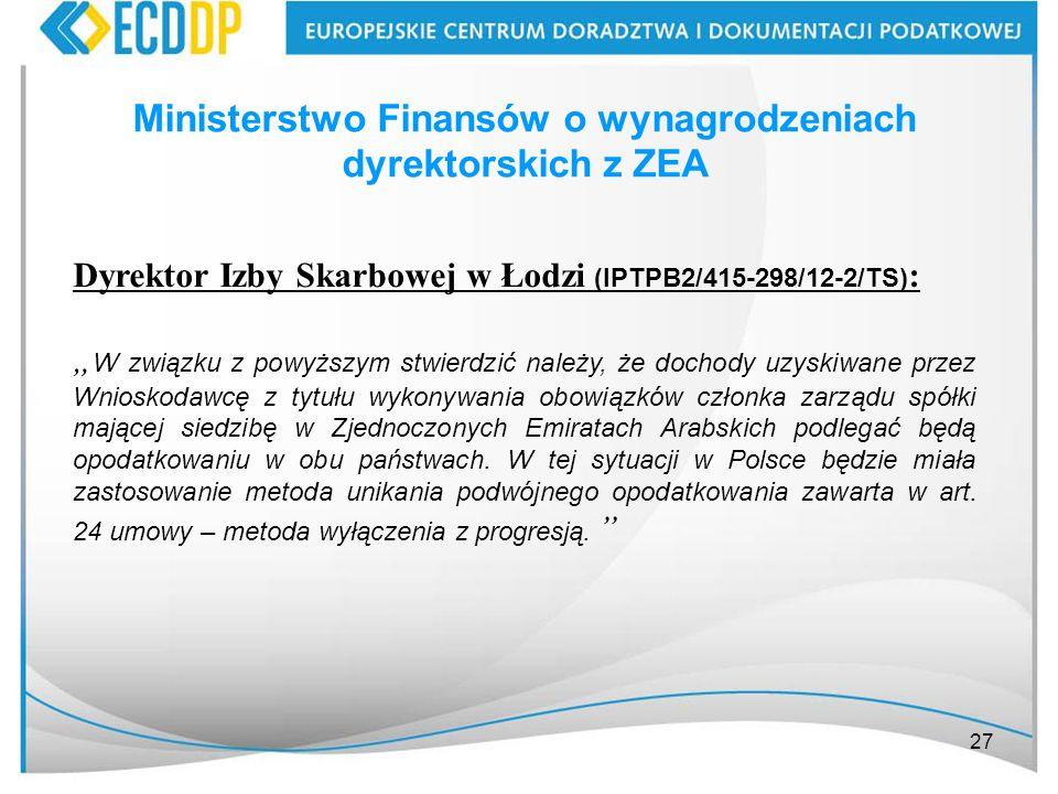 Ministerstwo Finansów o wynagrodzeniach dyrektorskich z ZEA