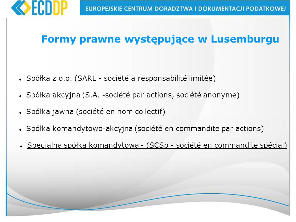 Formy prawne występujące w Lusemburgu