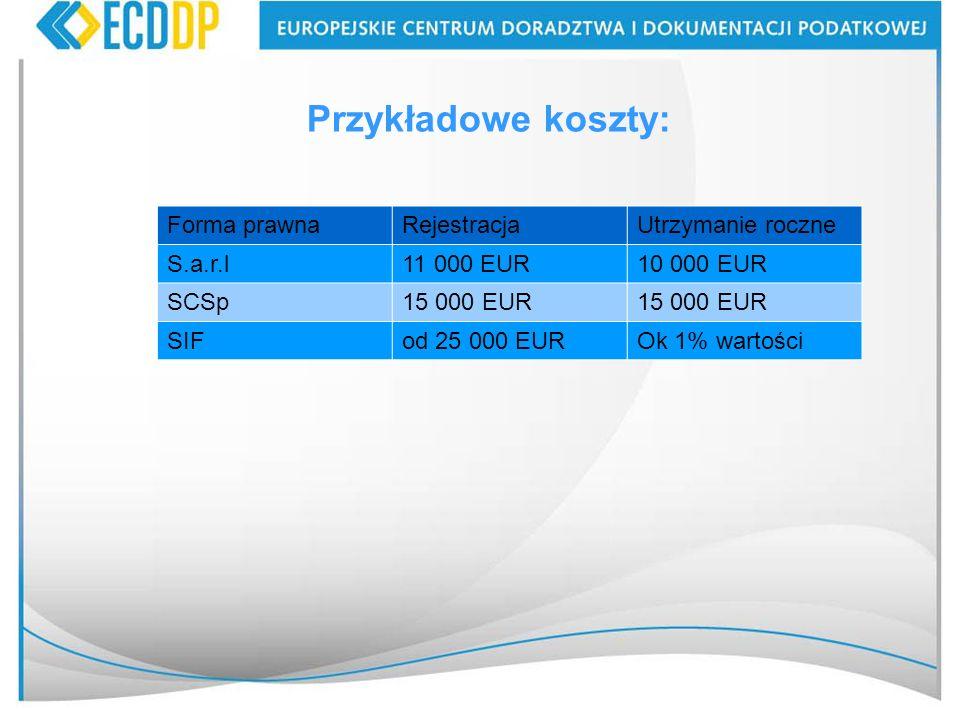 Przykładowe koszty: Forma prawna Rejestracja Utrzymanie roczne S.a.r.l