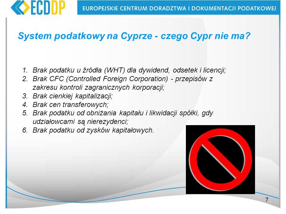 System podatkowy na Cyprze - czego Cypr nie ma