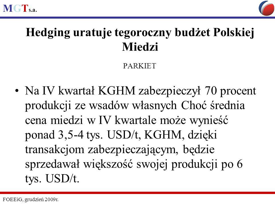 Hedging uratuje tegoroczny budżet Polskiej Miedzi PARKIET