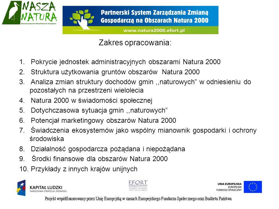Zakres opracowania: 1. Pokrycie jednostek administracyjnych obszarami Natura 2000. 2. Struktura użytkowania gruntów obszarów Natura 2000.