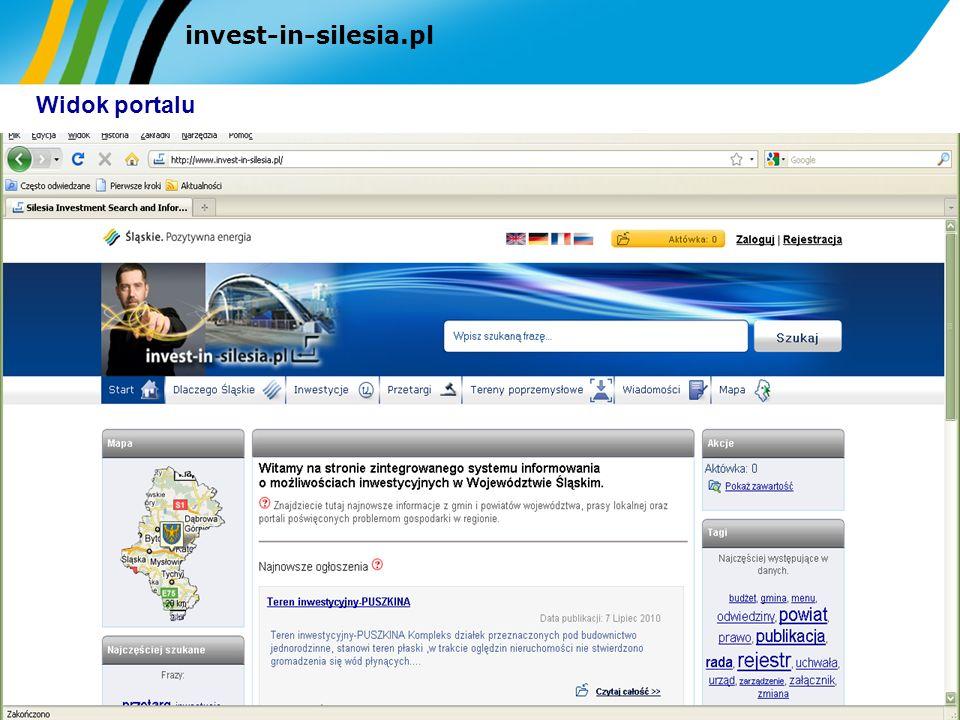 invest-in-silesia.pl Widok portalu