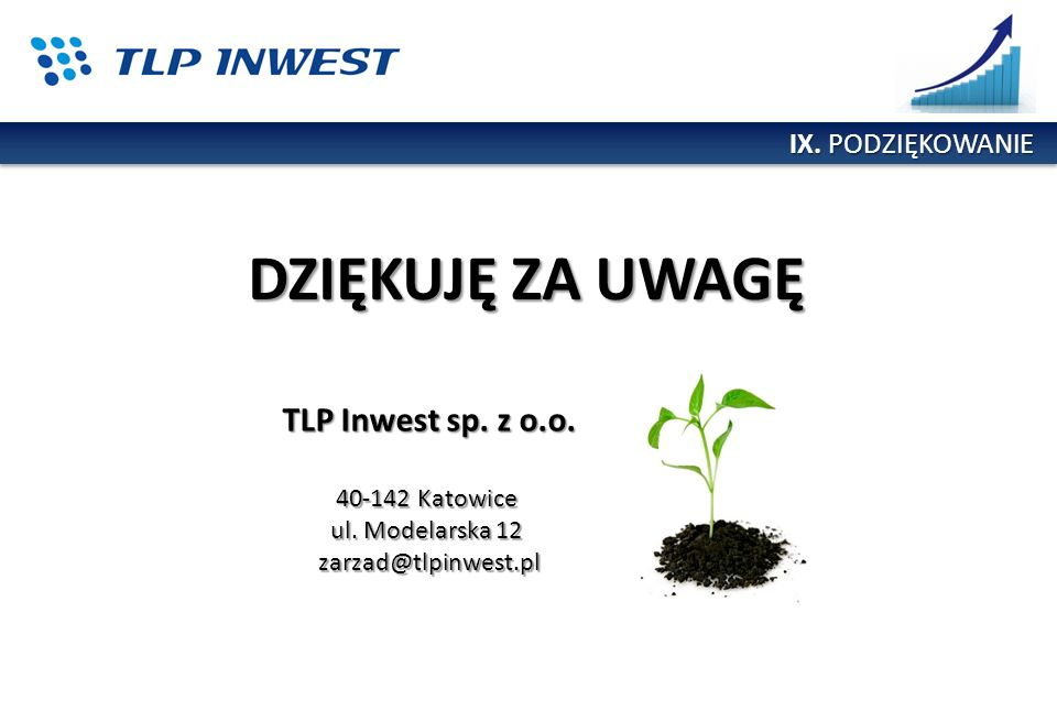 DZIĘKUJĘ ZA UWAGĘ TLP Inwest sp. z o.o. IX. PODZIĘKOWANIE