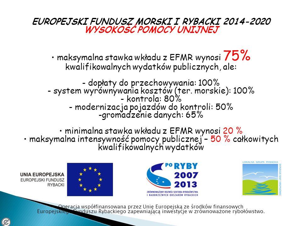 EUROPEJSKI FUNDUSZ MORSKI I RYBACKI 2014-2020 WYSOKOŚĆ POMOCY UNIJNEJ