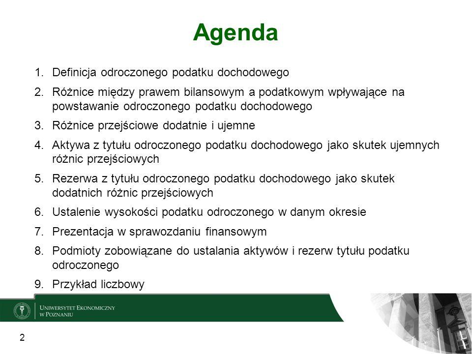 Agenda Definicja odroczonego podatku dochodowego