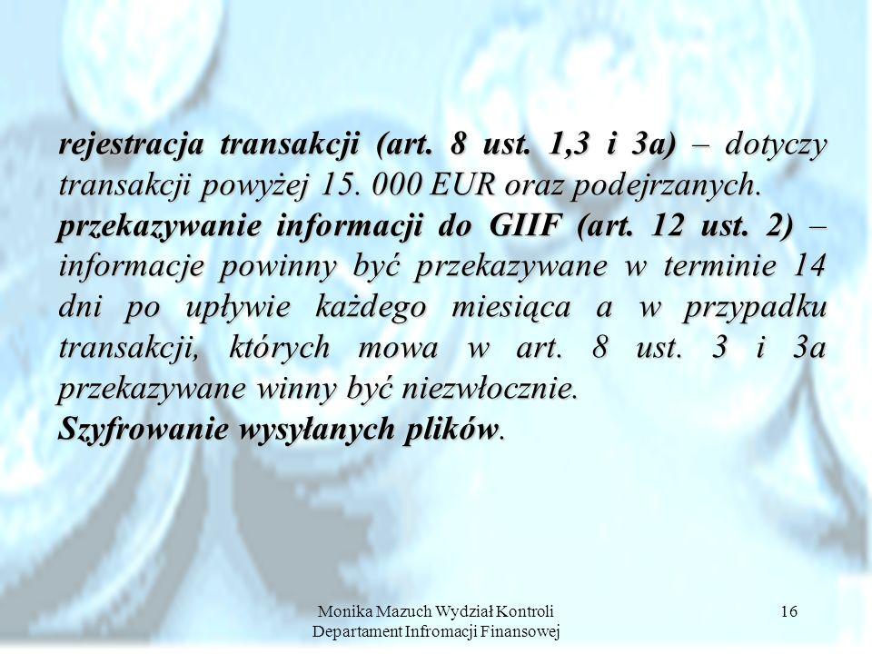 Monika Mazuch Wydział Kontroli Departament Infromacji Finansowej