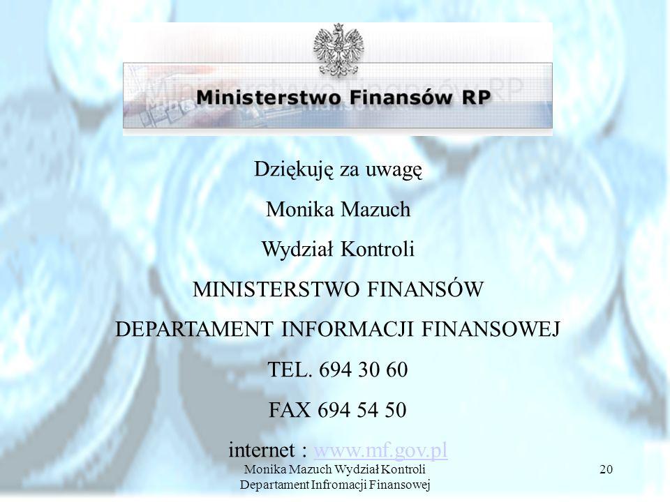MINISTERSTWO FINANSÓW DEPARTAMENT INFORMACJI FINANSOWEJ TEL. 694 30 60