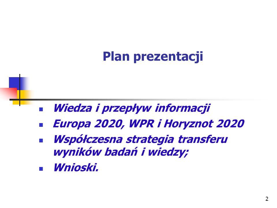 Plan prezentacji Wiedza i przepływ informacji