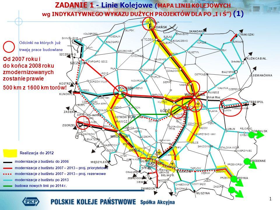 """ZADANIE 1 - Linie Kolejowe (MAPA LINII KOLEJOWYCH wg INDYKATYWNEGO WYKAZU DUŻYCH PROJEKTÓW DLA PO """"I i Ś ) (1)"""