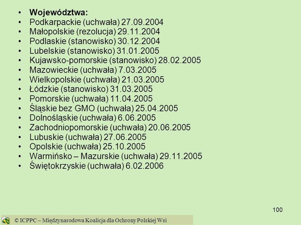 Podkarpackie (uchwała) 27.09.2004 Małopolskie (rezolucja) 29.11.2004