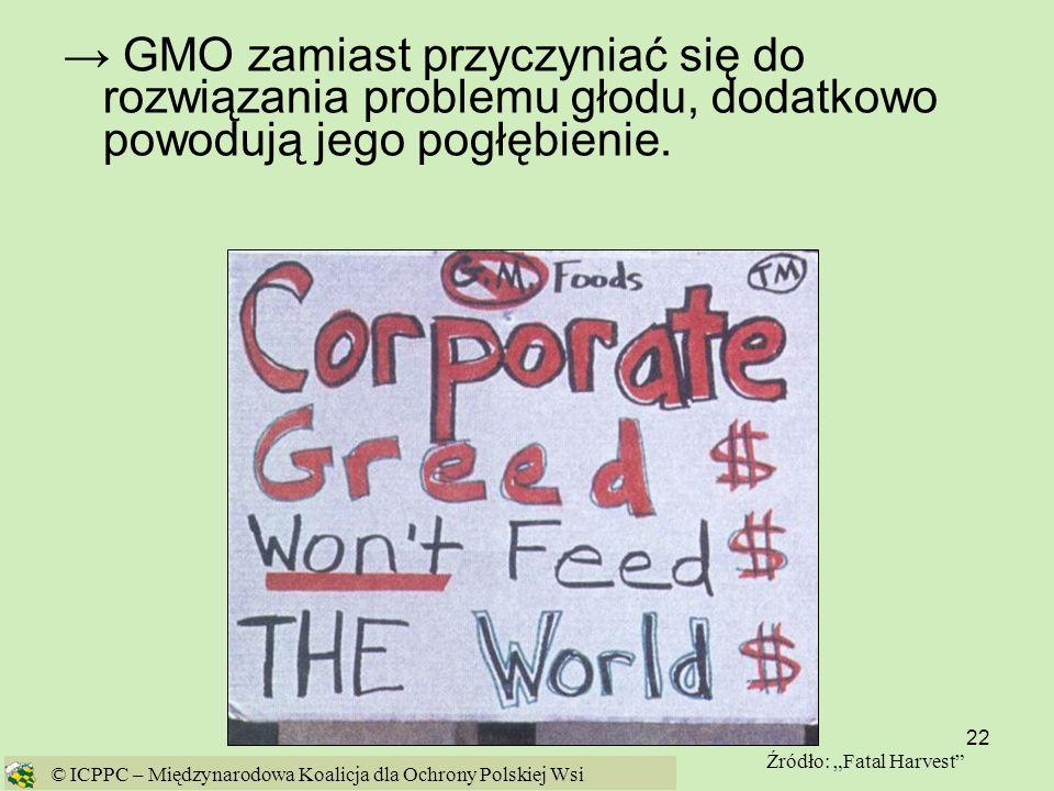 → GMO zamiast przyczyniać się do rozwiązania problemu głodu, dodatkowo powodują jego pogłębienie.