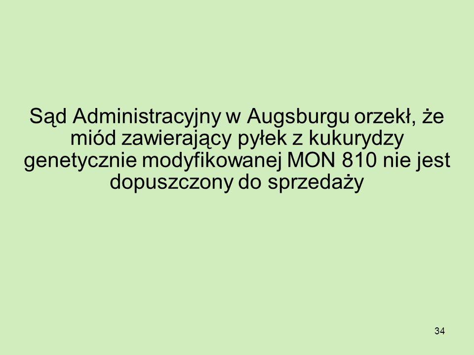 Sąd Administracyjny w Augsburgu orzekł, że miód zawierający pyłek z kukurydzy genetycznie modyfikowanej MON 810 nie jest dopuszczony do sprzedaży