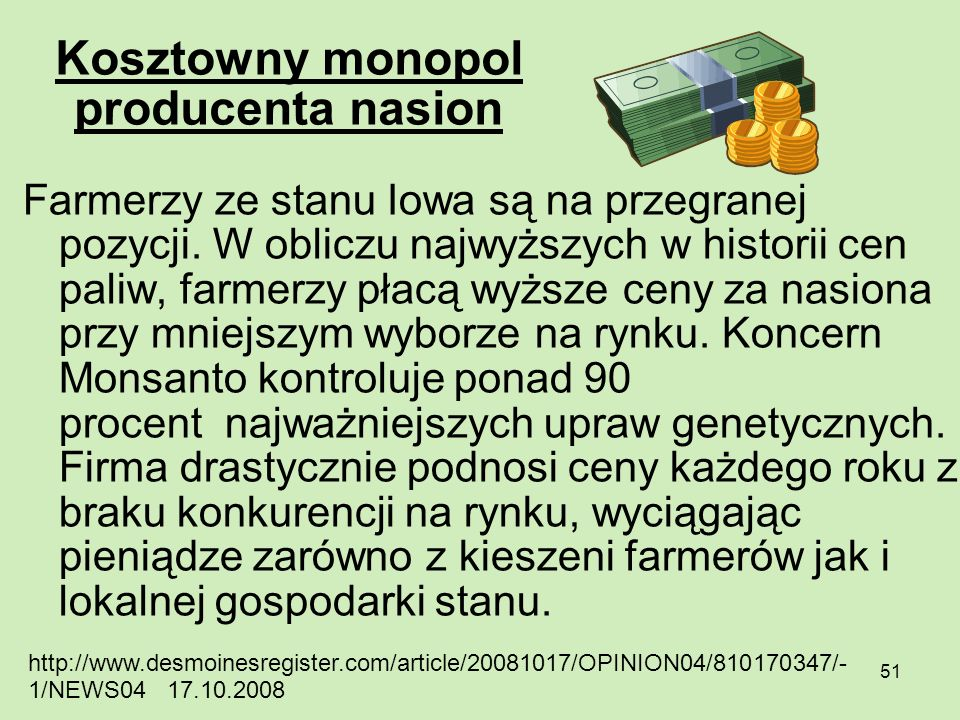 Kosztowny monopol producenta nasion