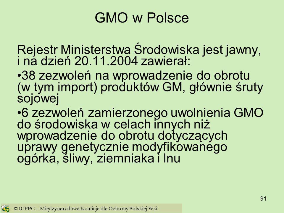 GMO w Polsce Rejestr Ministerstwa Środowiska jest jawny, i na dzień 20.11.2004 zawierał: