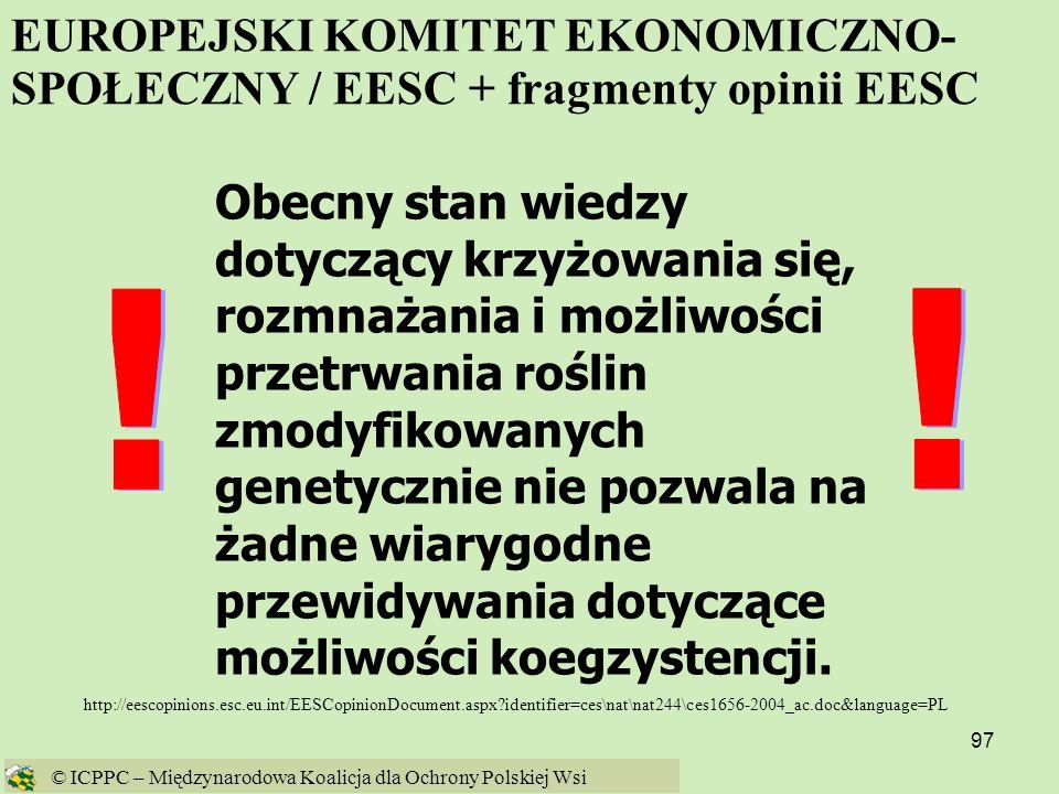 EUROPEJSKI KOMITET EKONOMICZNO-SPOŁECZNY / EESC + fragmenty opinii EESC