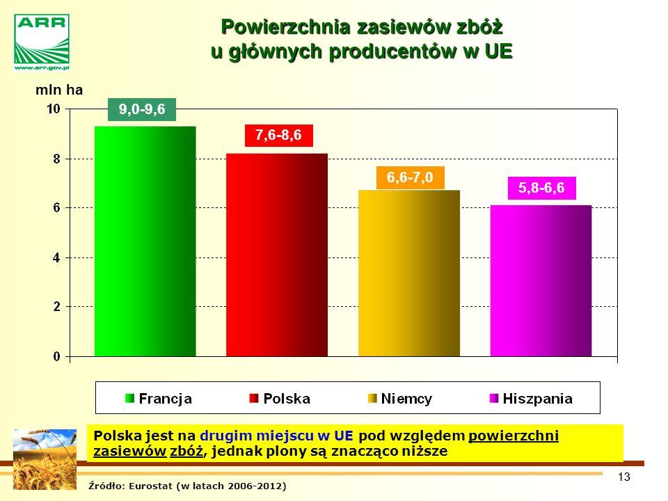 Powierzchnia zasiewów zbóż u głównych producentów w UE