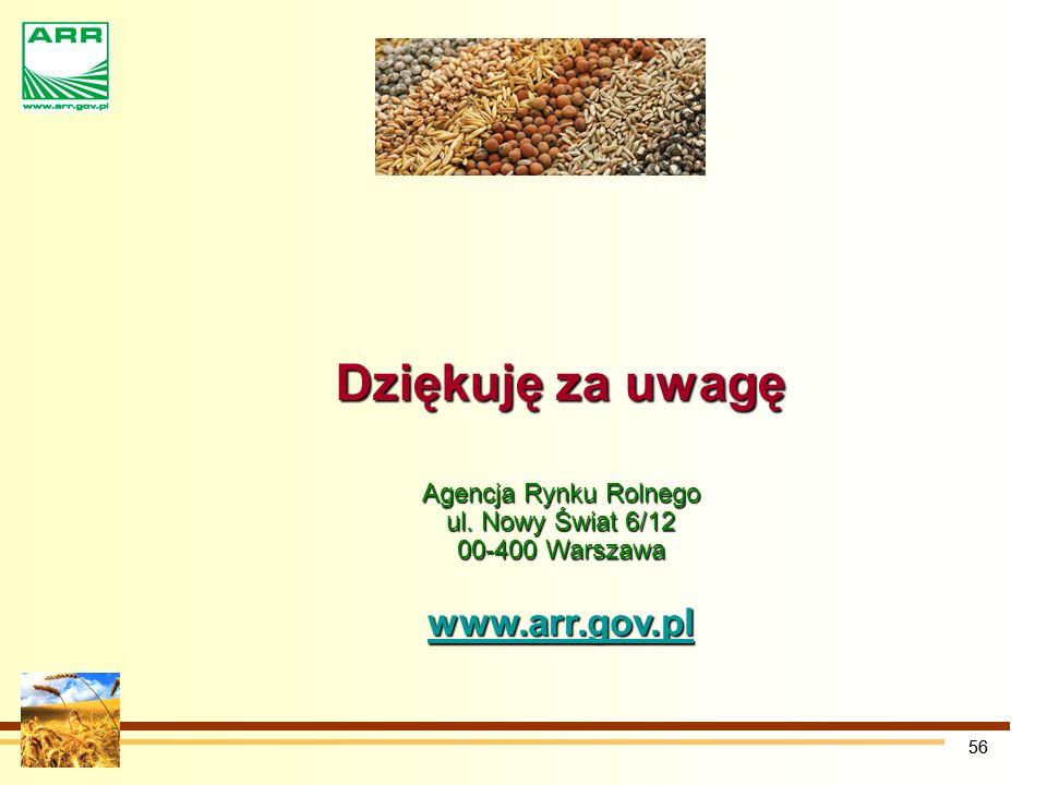 Agencja Rynku Rolnego ul. Nowy Świat 6/12 00-400 Warszawa