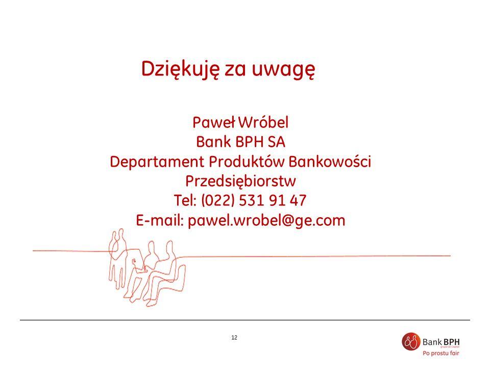 Dziękuję za uwagę Paweł Wróbel Bank BPH SA