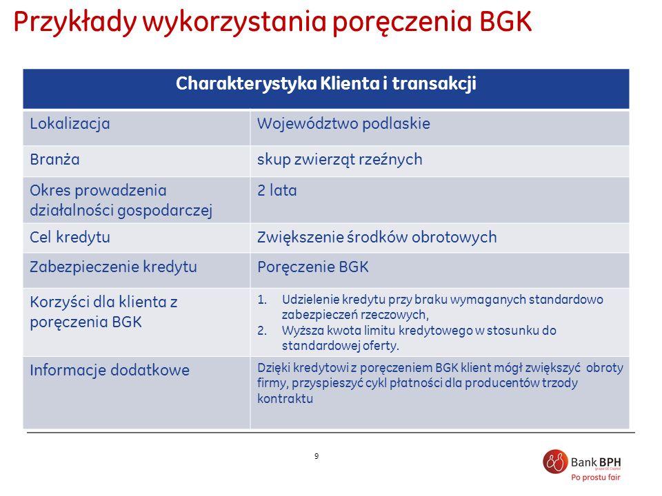 Przykłady wykorzystania poręczenia BGK