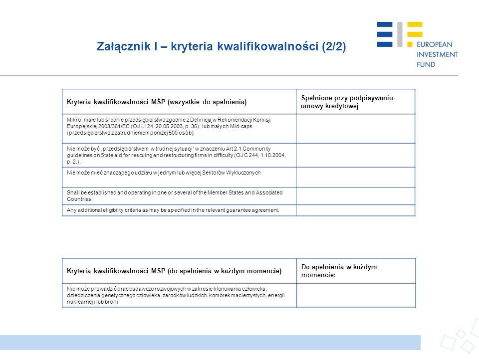 Załącznik I – kryteria kwalifikowalności (2/2)