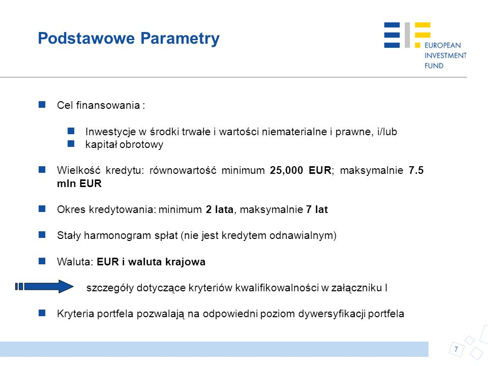 Podstawowe Parametry Cel finansowania :