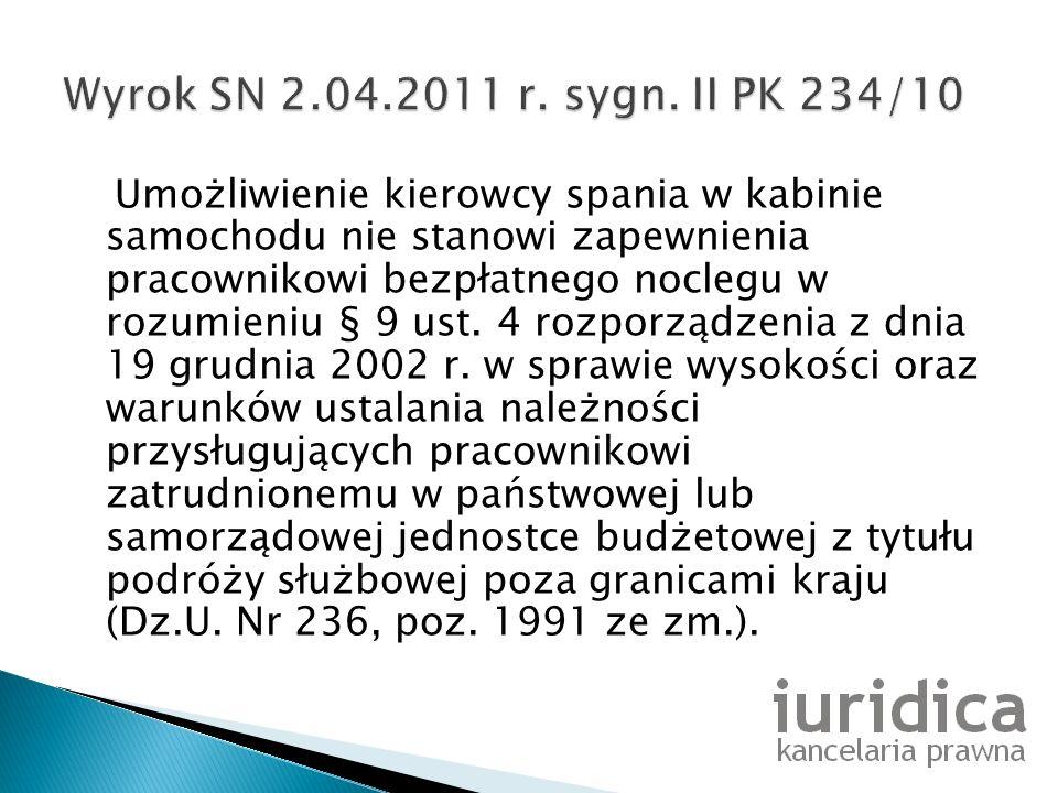 Wyrok SN 2.04.2011 r. sygn. II PK 234/10