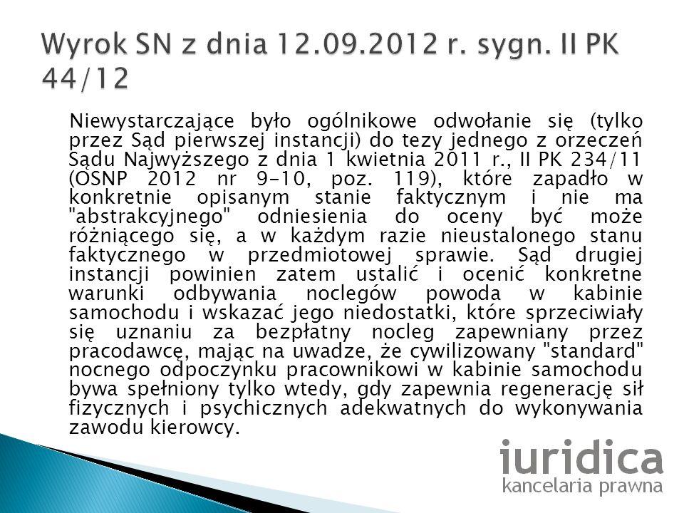 Wyrok SN z dnia 12.09.2012 r. sygn. II PK 44/12