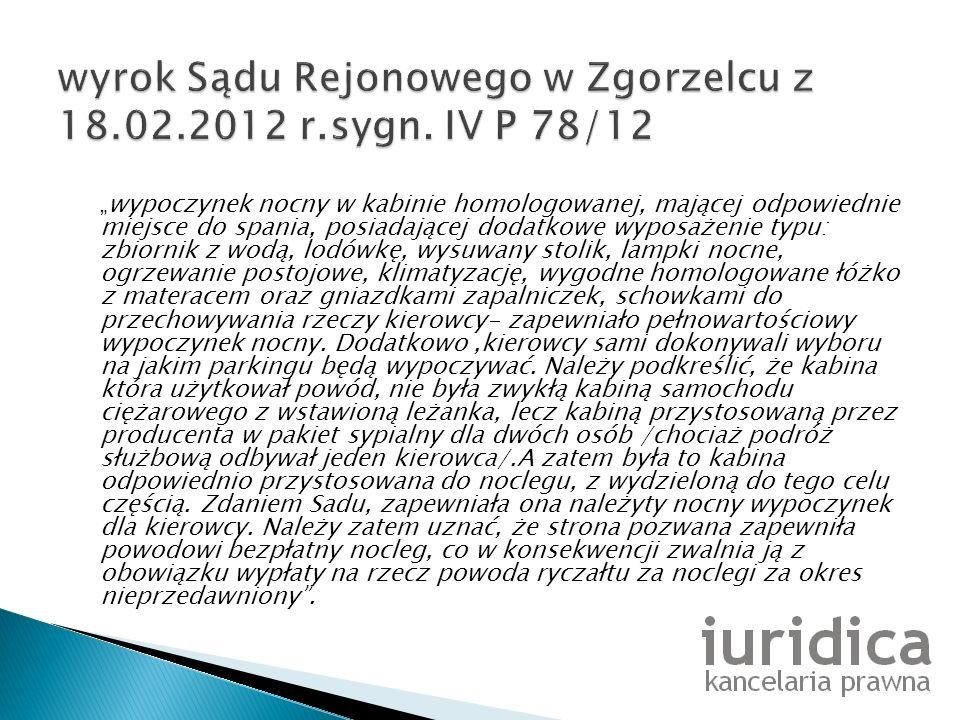wyrok Sądu Rejonowego w Zgorzelcu z 18.02.2012 r.sygn. IV P 78/12
