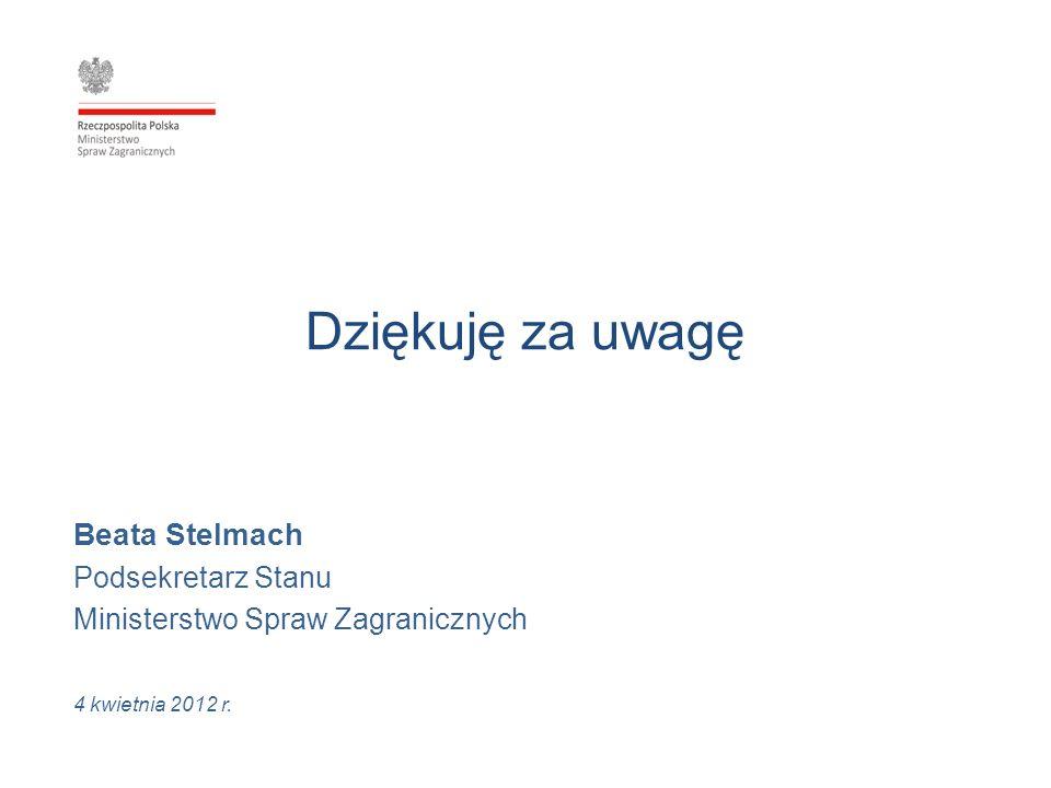 Dziękuję za uwagę Beata Stelmach Podsekretarz Stanu