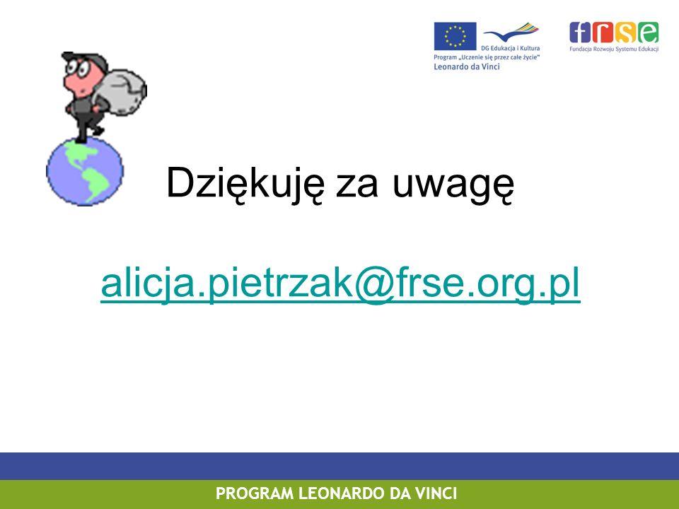 Dziękuję za uwagę alicja.pietrzak@frse.org.pl