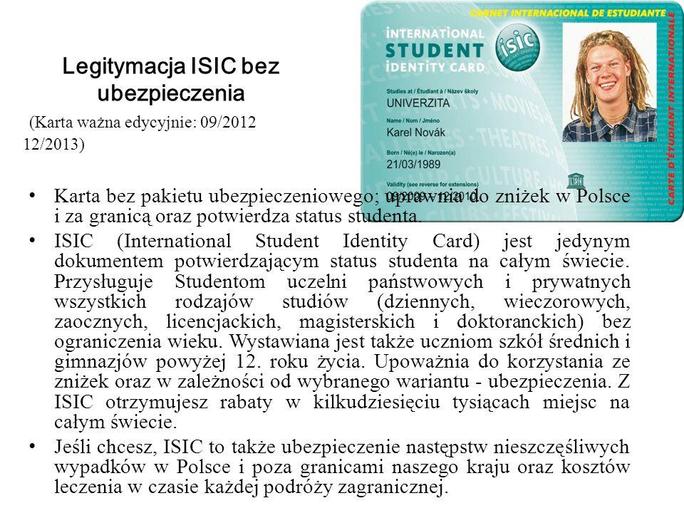 Legitymacja ISIC bez ubezpieczenia