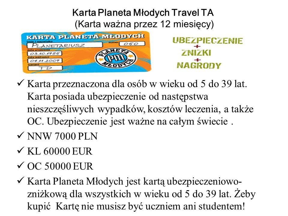 Karta Planeta Młodych Travel TA (Karta ważna przez 12 miesięcy)