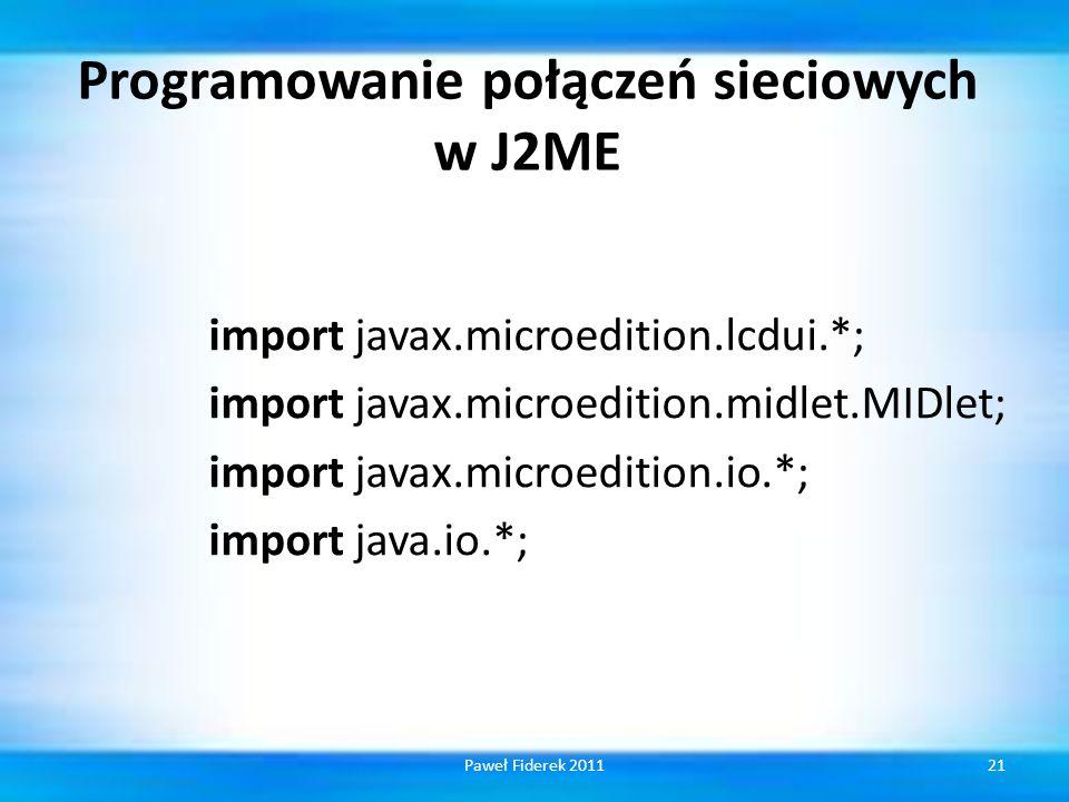 Programowanie połączeń sieciowych w J2ME