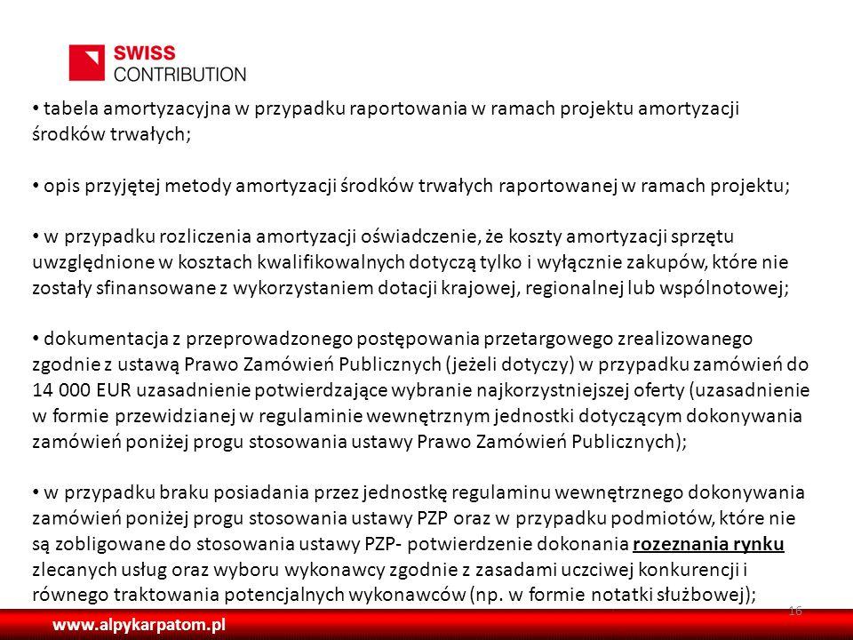 tabela amortyzacyjna w przypadku raportowania w ramach projektu amortyzacji środków trwałych;
