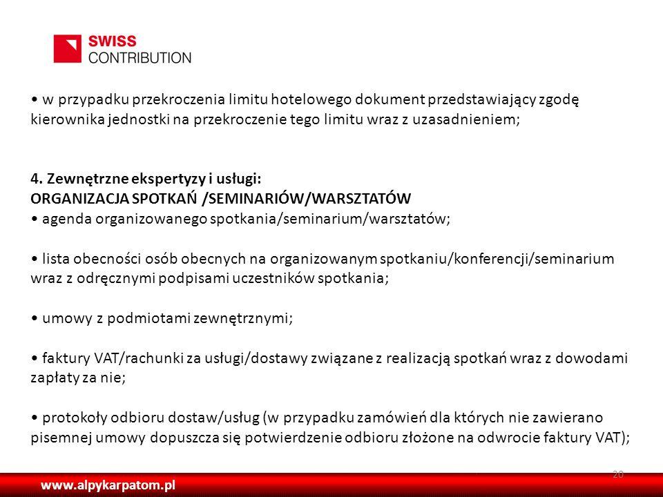 4. Zewnętrzne ekspertyzy i usługi:
