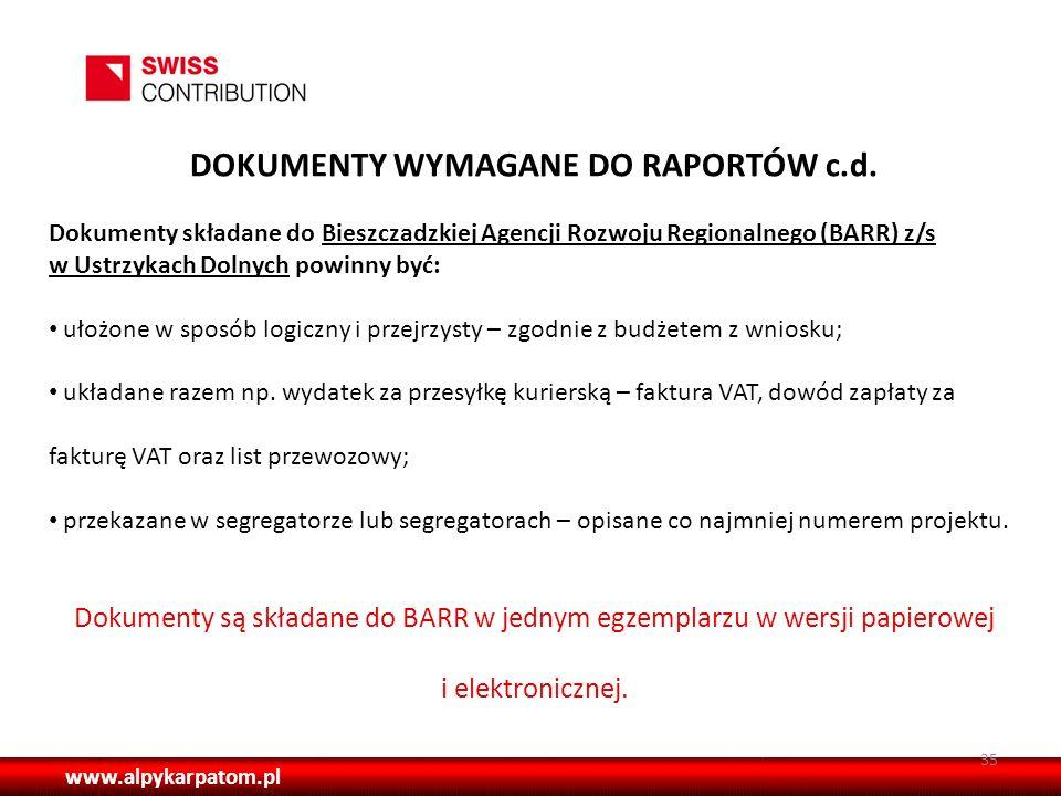 DOKUMENTY WYMAGANE DO RAPORTÓW c.d.