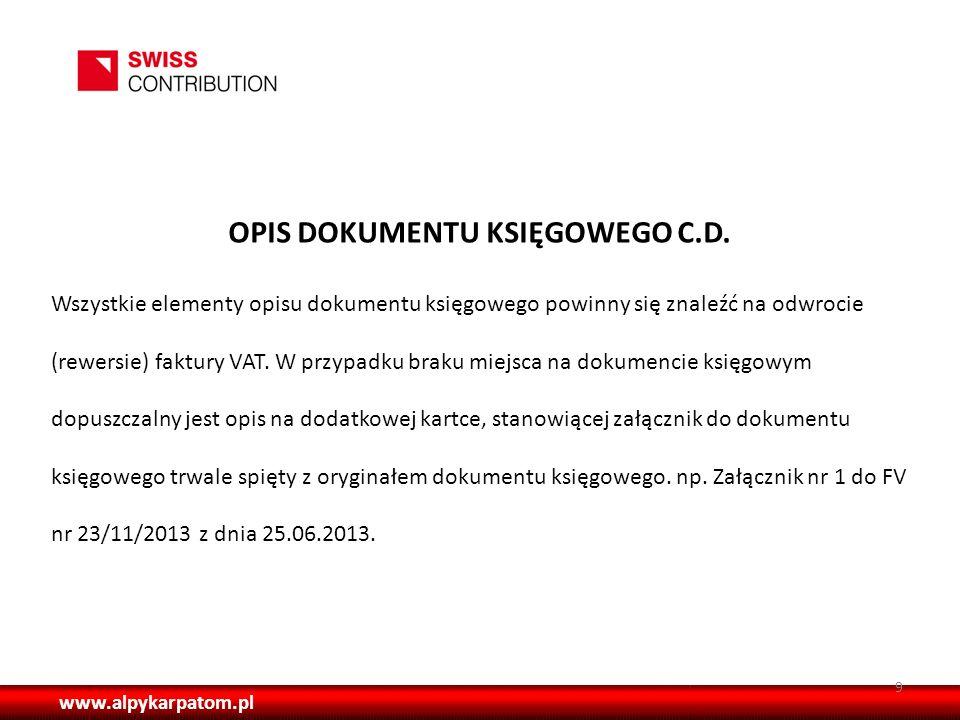 OPIS DOKUMENTU KSIĘGOWEGO C.D.