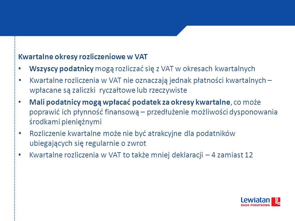 Kwartalne okresy rozliczeniowe w VAT
