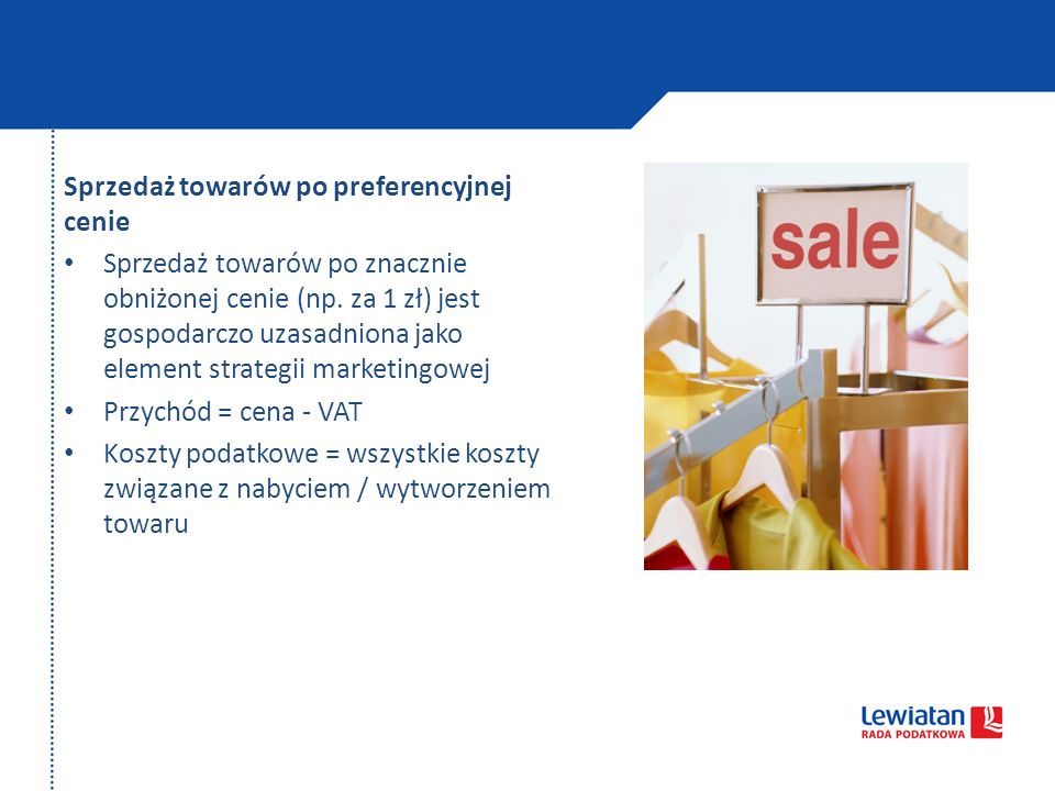 Sprzedaż towarów po preferencyjnej cenie