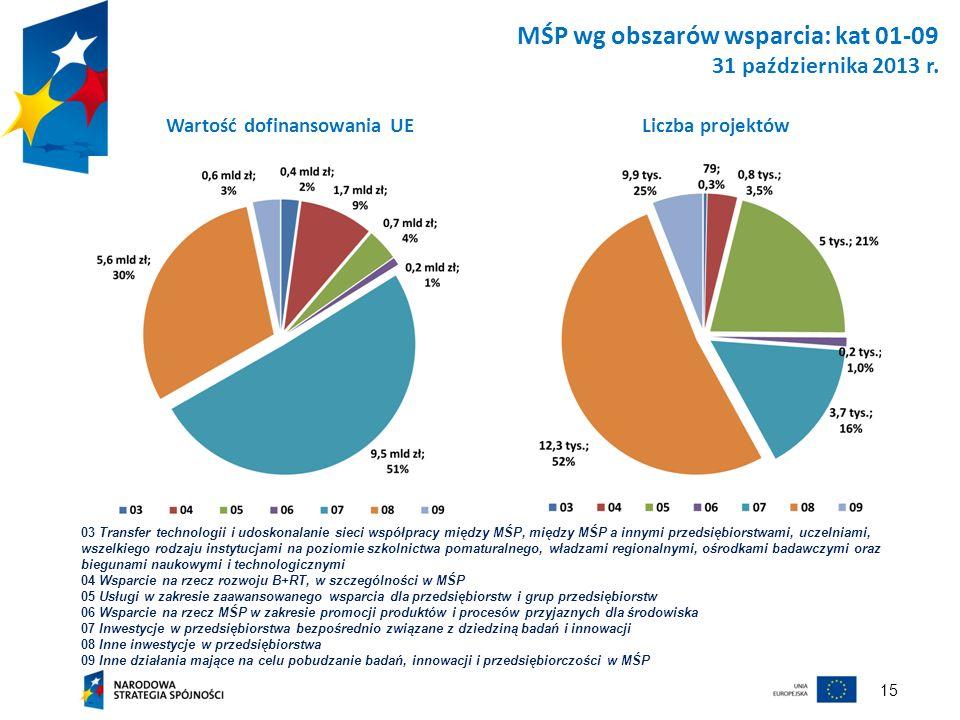 MŚP wg obszarów wsparcia: kat 01-09 31 października 2013 r.